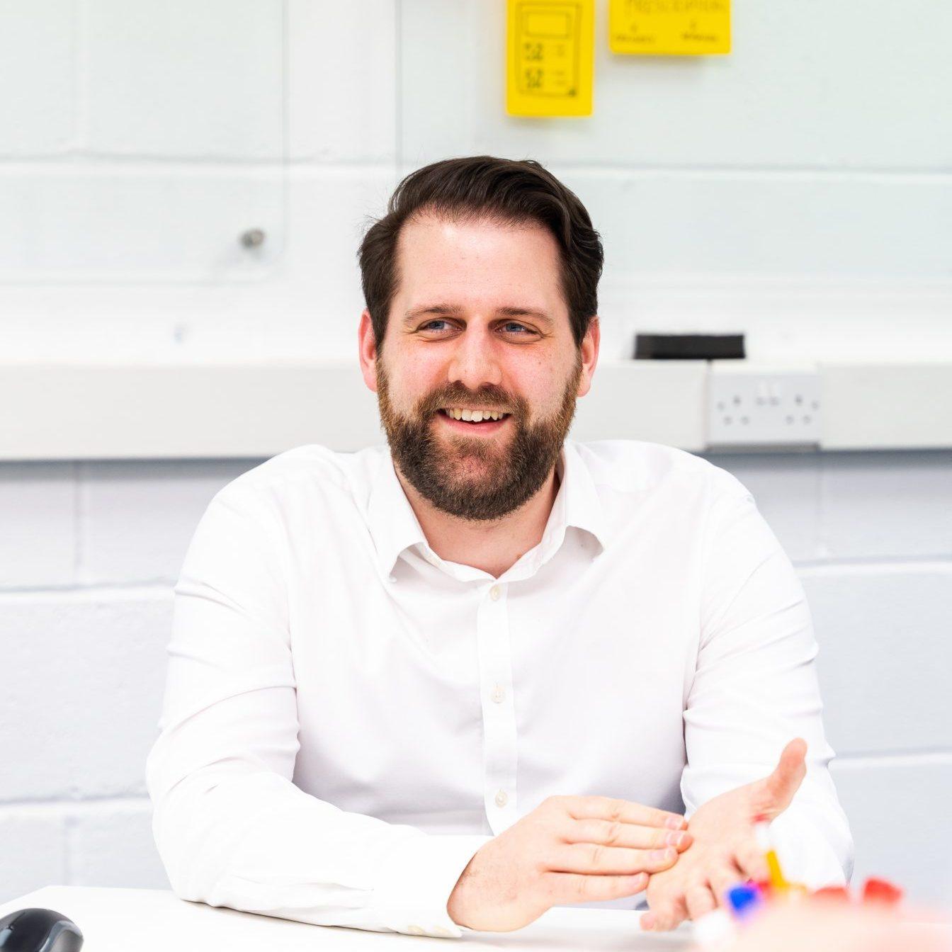 Medical Design Development Engineer, Danny in a team meeting in a design studio