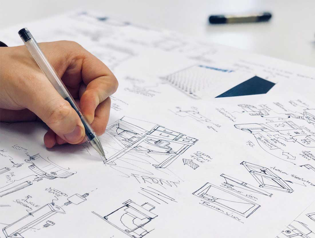 Concept design sketches of a new product development project