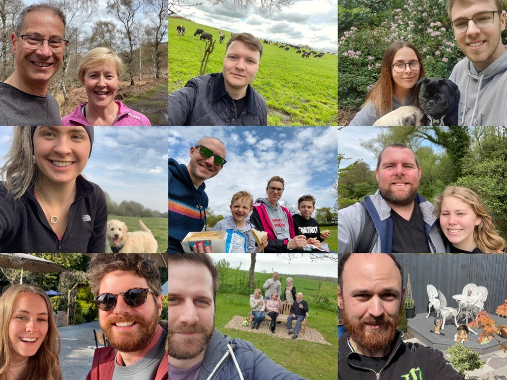 A collage of 'selfies' from the HD Design & Engineering team getting outdoors with nature for Mental Health Awareness Week 2021