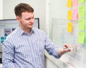 Medical device design engineer brainstorming